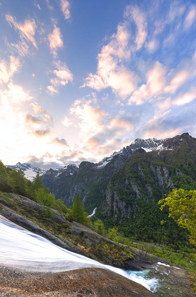 Sunrise at the waterfall of Ferro Valley, Val di Mello, Valmalenco, Valtellina, Lombardy, Italy, Europe. - 1269-450