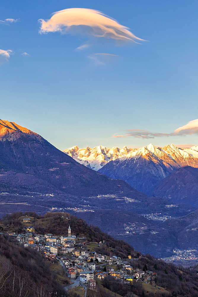 Sunset in the village, Sacco, Valgerola, Valtellina, Sondrio provinc, Lombardy, Italy, Europe