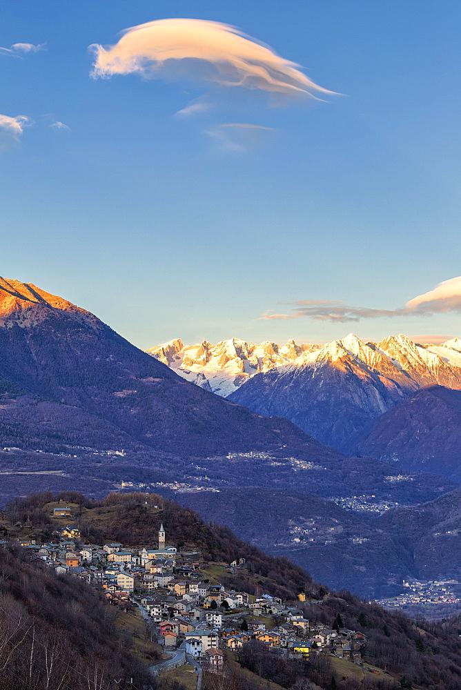 Sunset in the village, Sacco, Valgerola, Valtellina, Sondrio provinc, Lombardy, Italy, Europe - 1269-469