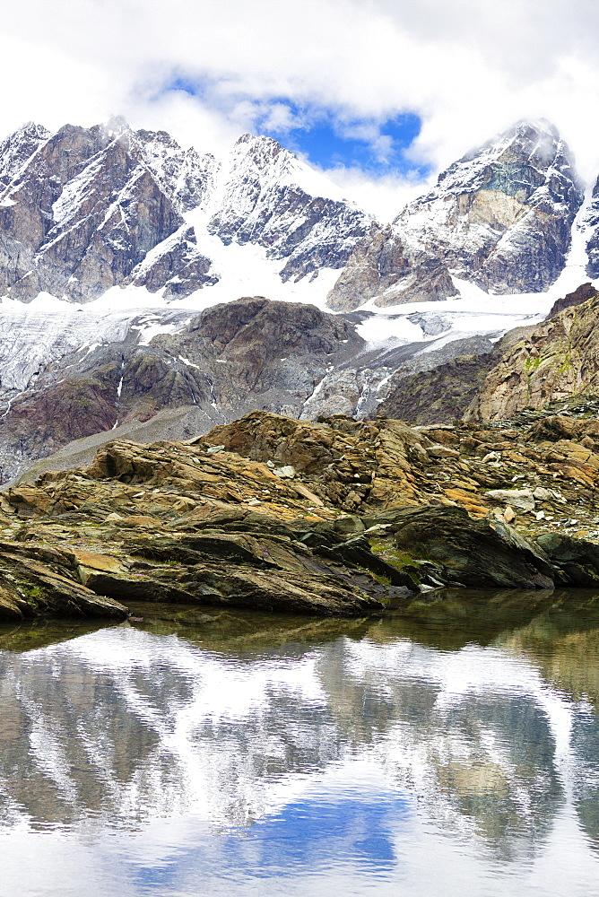 Pizzo Bernina reflected in the Forbici Lake, Valmalenco, Valtellina, Lombardy, Italy, Europe - 1269-492