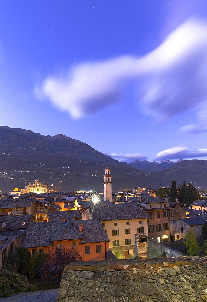 City of Morbegno at dusk, Valtellina, Lombardy, Italy, Europe - 1269-497