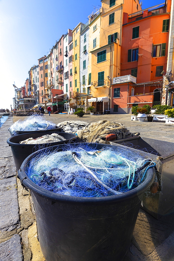Fishing nets with typical houses in the background, Porto Venere, Cinque Terre, UNESCO World Heritage Site, Liguria, Italy, Europe - 1269-509