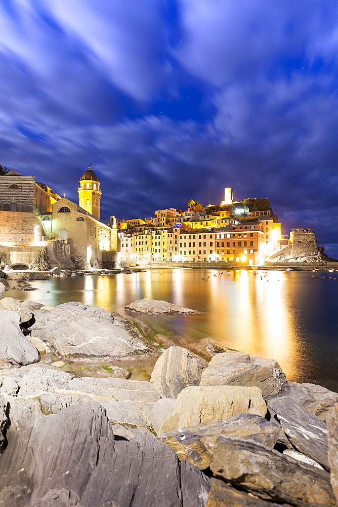 Village of Vernazza at night, Cinque Terre, UNESCO World Heritage Site, Liguria, Italy, Europe - 1269-521