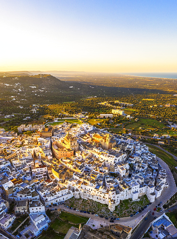 Aerial view of the old town of Ostuni at sunset, Apulia, Italy, Europe - 1269-565