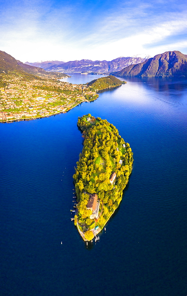 Aerial view of Comacina Island in autumn, Lake Como, Lombardy, Italian Lakes, Italy, Europe
