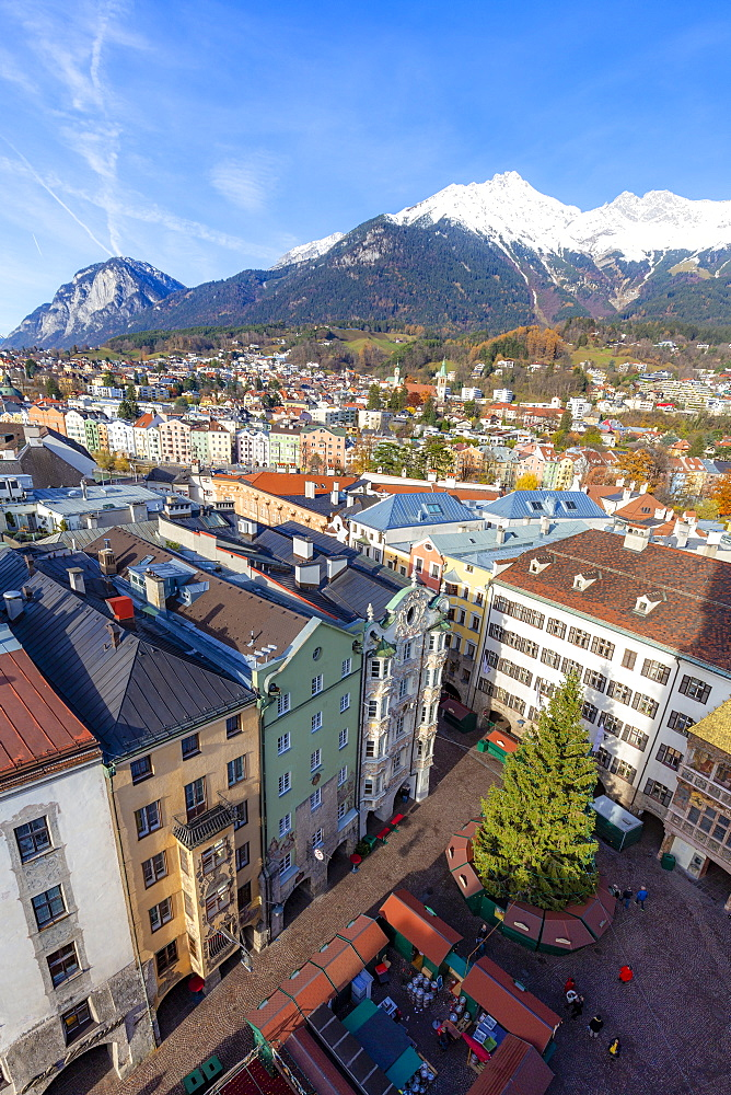 City of Innsbruck from above, Tyrol, Austria, Europe