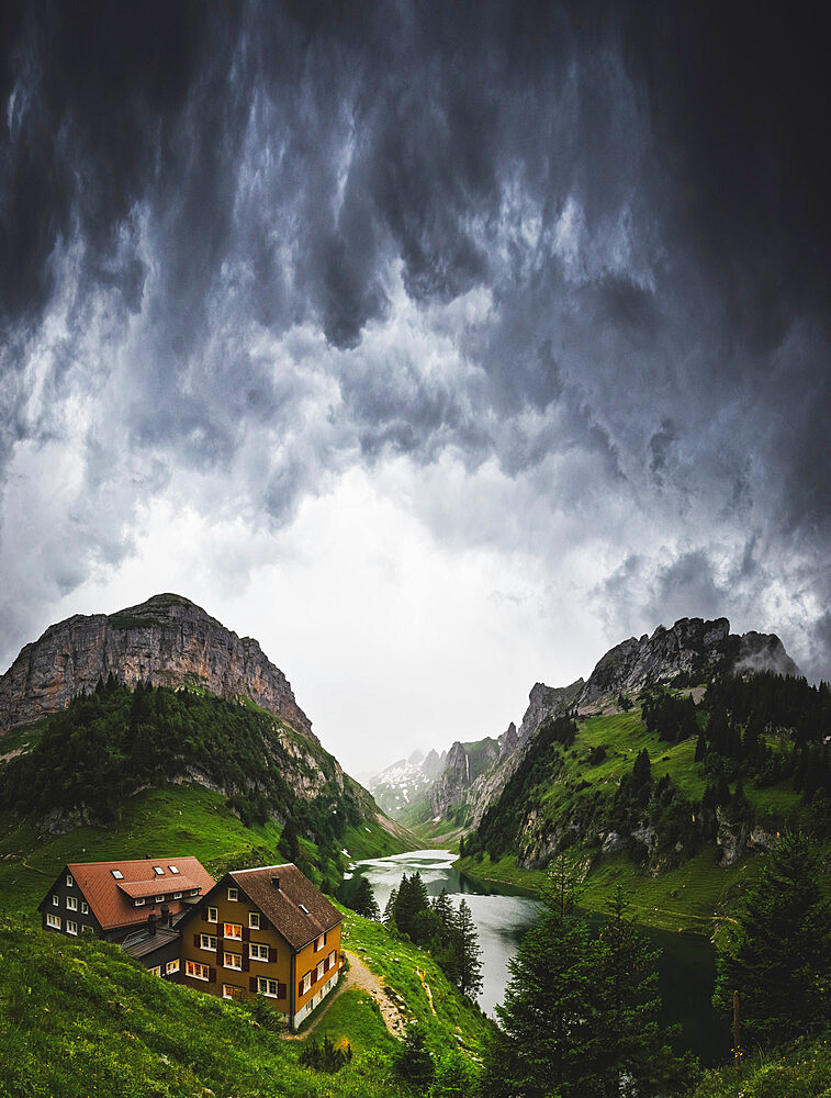 Thunderstorm is coming at Bollenwees refuge, Canton of Appenzell, Alpstein, Switzerland, Europe - 1269-674