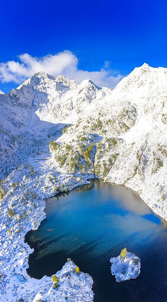 Aerial view of Lago Nero after a summer snowfall, Val Belviso, Valtellina, Orobie Alps, Lombardy, Italy, Europe - 1269-684