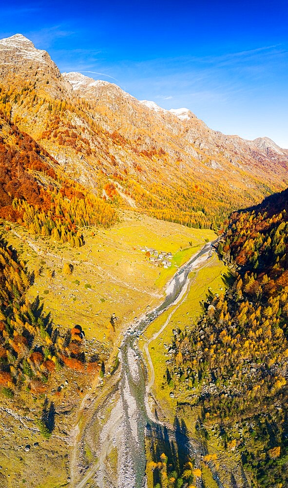 Panoramic aerial view of Val Bodengo during autumn, Valchiavenna, Valtellina, Lombardy, Italy, Europe - 1269-688