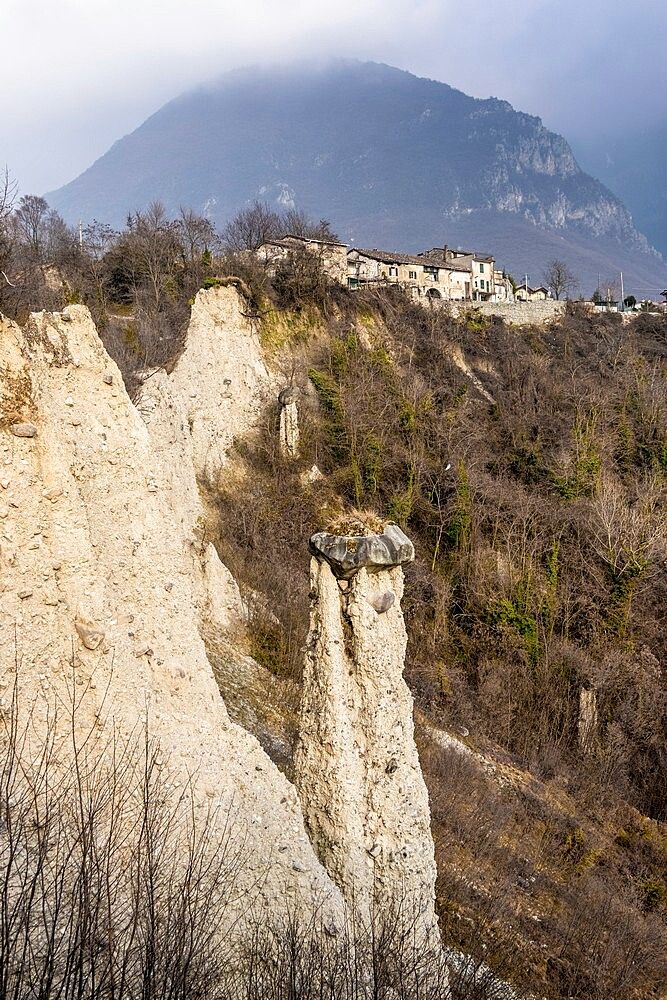 Earth pyramids (rock chimneys) with old houses of Zone, Brescia province, Lombardy, Italy, Europe - 1269-695