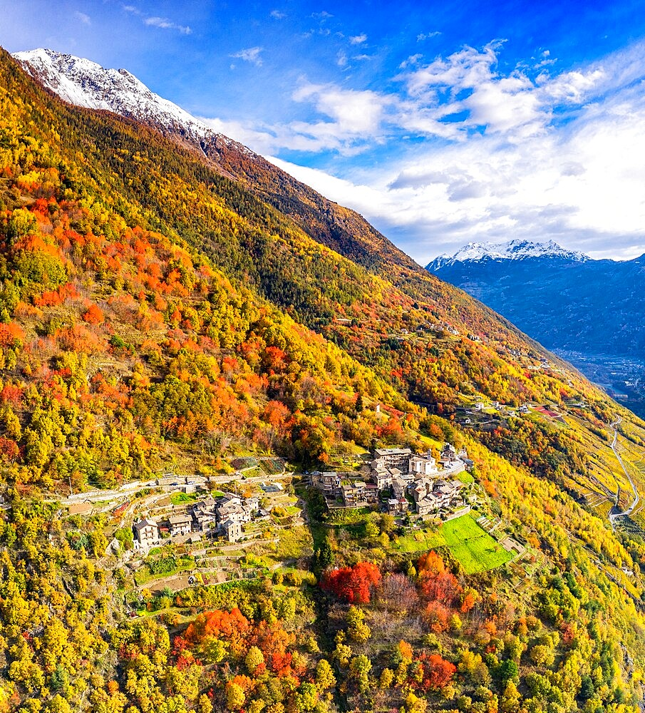 Aerial view of traditional village, Valtellina, Lombardy, Italy, Europe - 1269-703