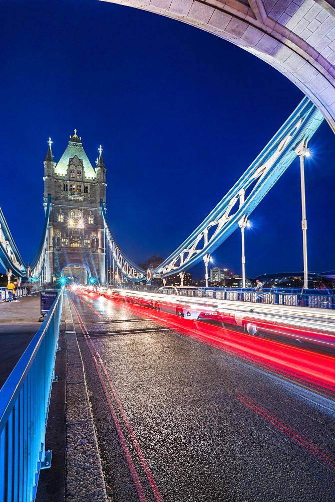Tower Bridge at night, Southwark, London, England, United Kingdom, Europe - 1272-120
