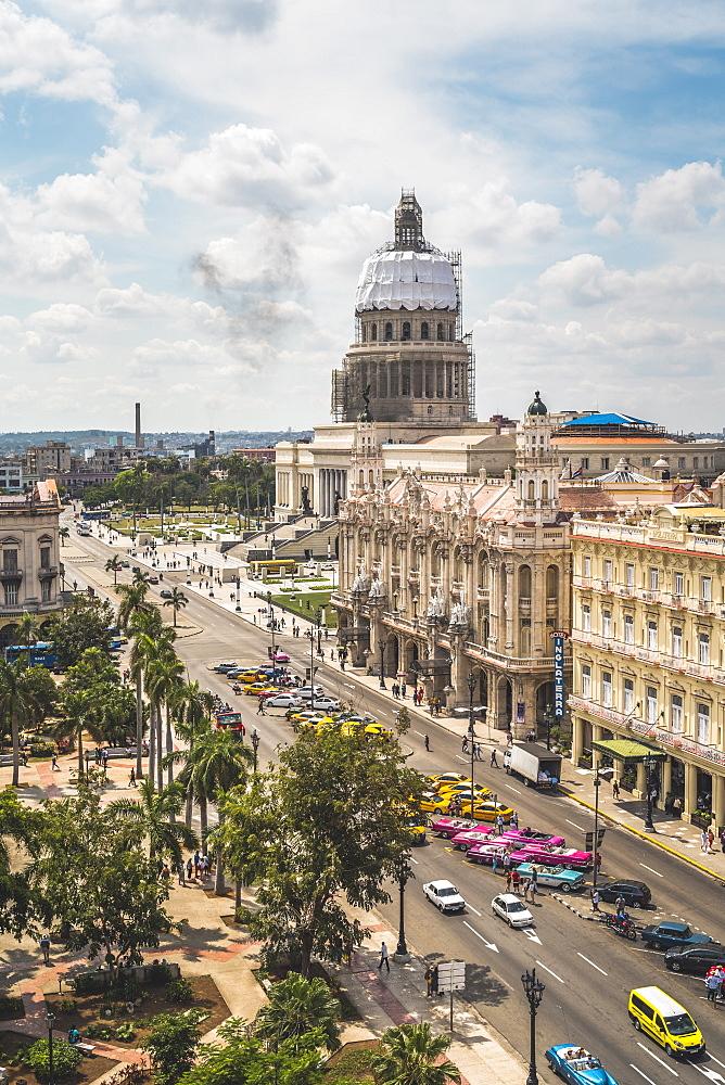 Aerial view the Gran Teatro de La Habana and El Capitolio, Havana, Cuba, West Indies, Caribbean - 1276-1469