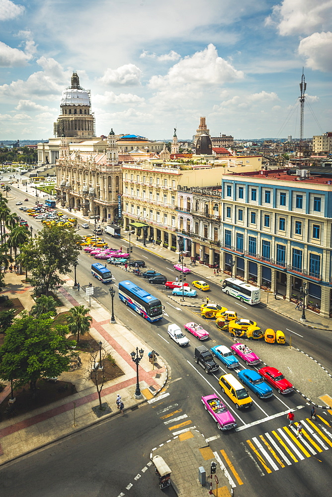 Aerial view the Gran Teatro de La Habana and El Capitolio and colourful old driving, Havana, Cuba, West Indies, Caribbean