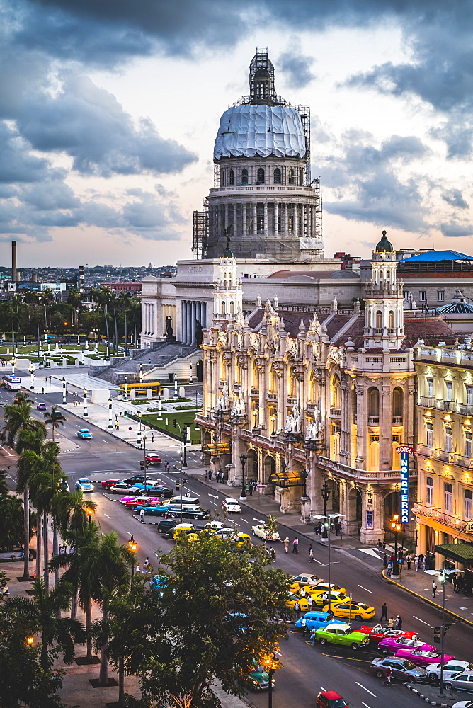 The Gran Teatro de La Habana and El Capitolio at sunset, Havana, Cuba, West Indies, Caribbean