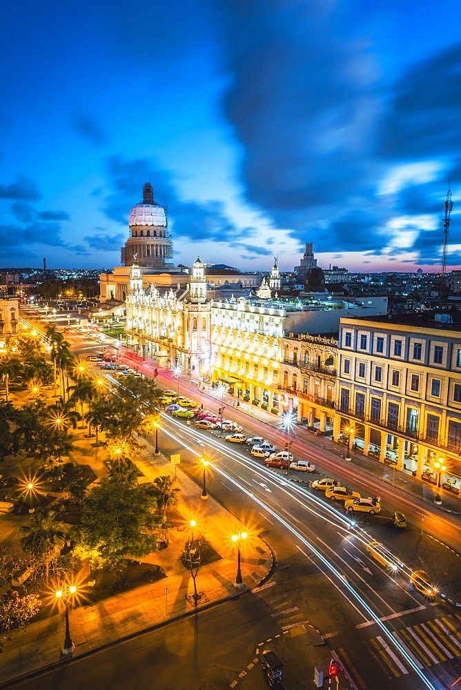 The Gran Teatro de La Habana and El Capitolio at dusk, Havana, Cuba, West Indies, Caribbean, Central America