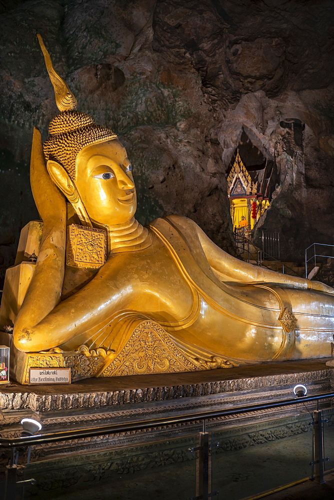 Lying Buddha at Wat Suwan Kuha or Cave Temple, Buddha Cave in Phang Nga, Thailand, South East Asia