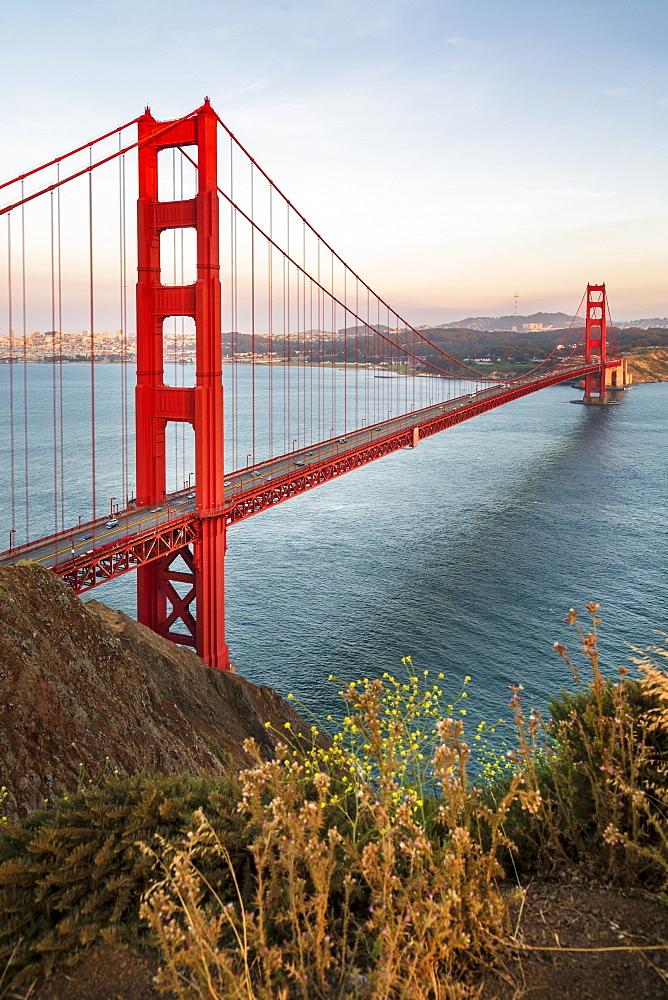 View of Golden Gate Bridge from Golden Gate Bridge Vista Point at sunset, San Francisco, California, USA, North America - 1276-428