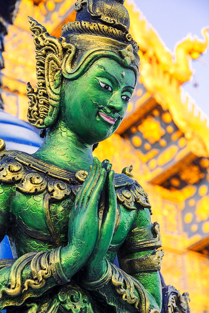 Green Yaksha statue at Wat Rong Suea Ten (Blue Temple) in Chiang Rai, Thailand, Southeast Asia, Asia - 1281-20