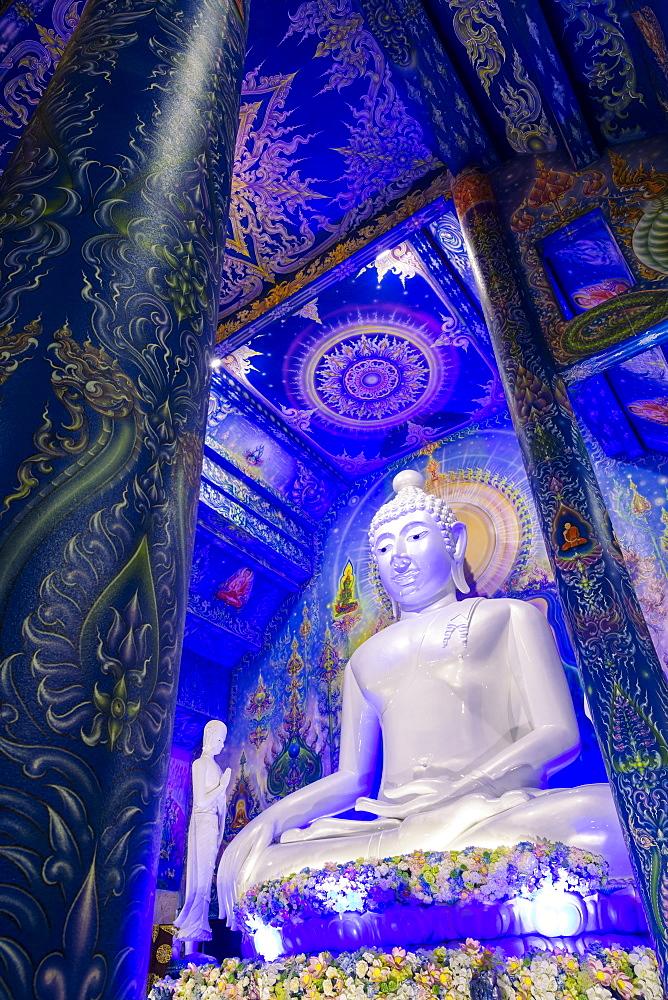 Statue of Buddha inside Wat Rong Suea Ten (Blue Temple) in Chiang Rai, Thailand, Southeast Asia, Asia - 1281-22