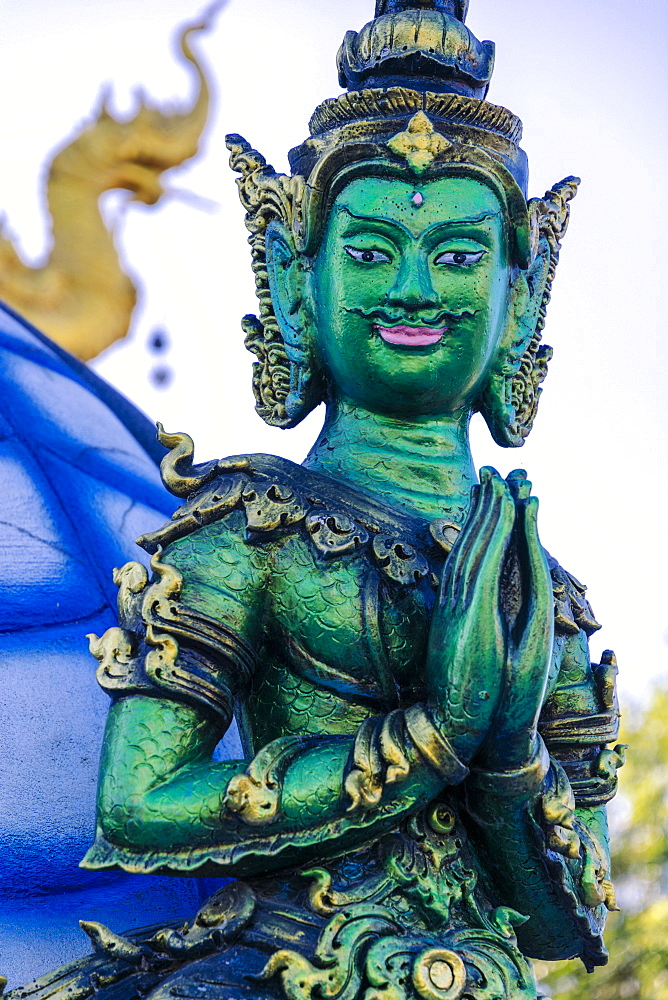 Green Yaksha statue at Wat Rong Suea Ten (Blue Temple) in Chiang Rai, Thailand, Southeast Asia, Asia - 1281-26