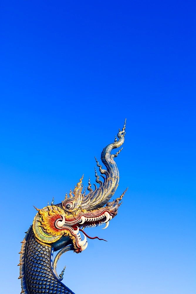 Naga head at Wat Rong Suea Ten (Blue Temple) in Chiang Rai, Thailand, Southeast Asia, Asia - 1281-29