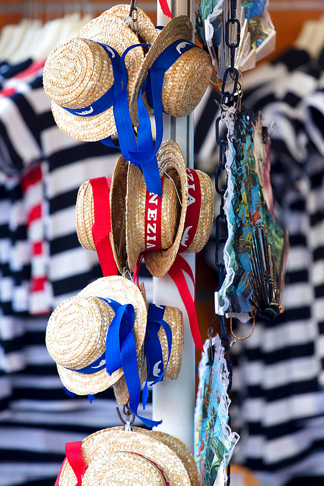 Venetian hats and striped Gondolier top for sale, Venice, Veneto, Italy - 1284-11