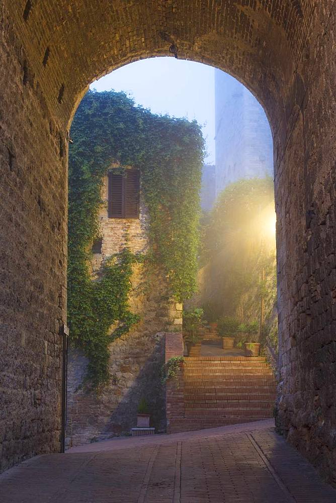 A misty dawn view of a street in San Gimignano, UNESCO World Heritage Site, Tuscany, Italy, Europe