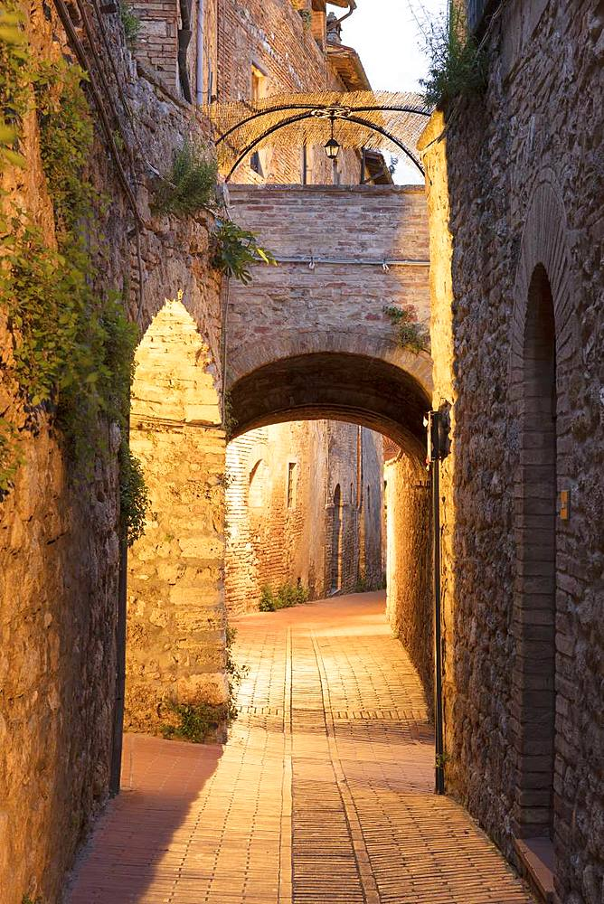 Dawn view of streets in San Gimignano, UNESCO World Heritage Site, Tuscany, Italy, Europe - 1284-133
