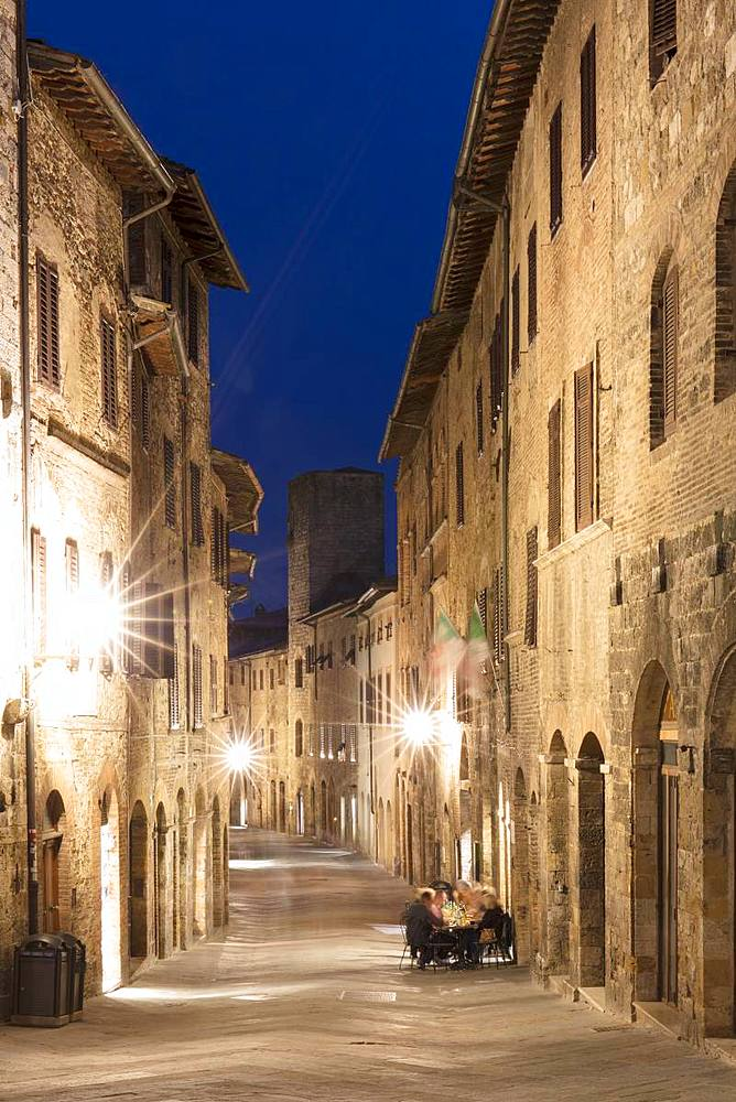 Night view of a street in San Gimignano, UNESCO World Heritage Site, Tuscany, Italy, Europe