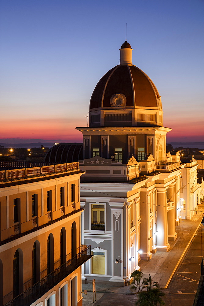City Hall at sunset, Cienfuegos, UNESCO World Heritage Site, Cuba, West Indies, Caribbean, Central America - 1284-158
