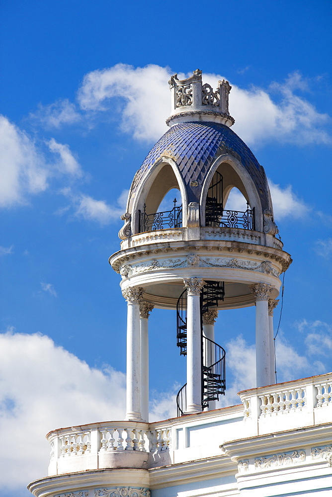 Winding stairway on roof of old building in the centre of Cienfuegos, UNESCO World Heritage Site, Cuba, West Indies, Caribbean, Central America - 1284-159