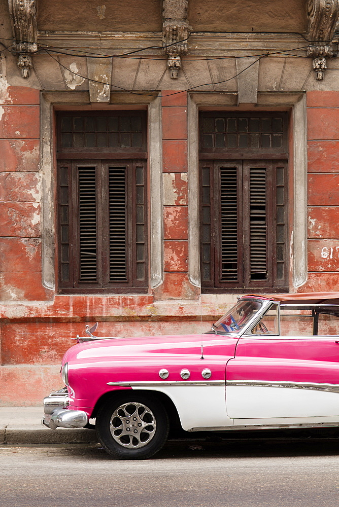 Front half of white and pink old vintage car, Havana, Cuba, West Indies, Caribbean, Central America