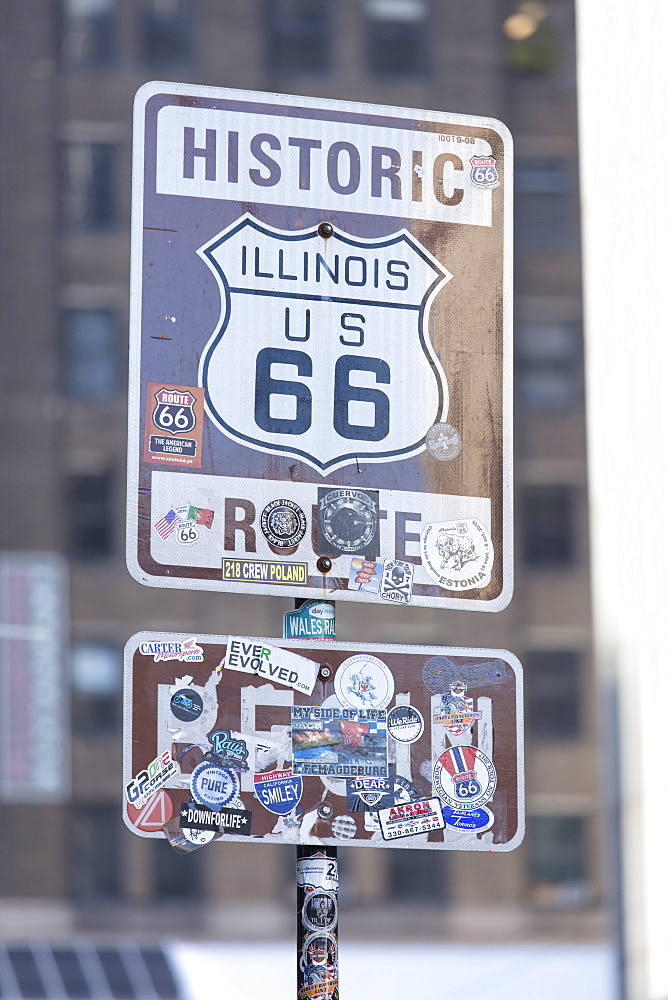 Historic sign for the start of Route 66 in Chicago, Illinois, United States of America, North America
