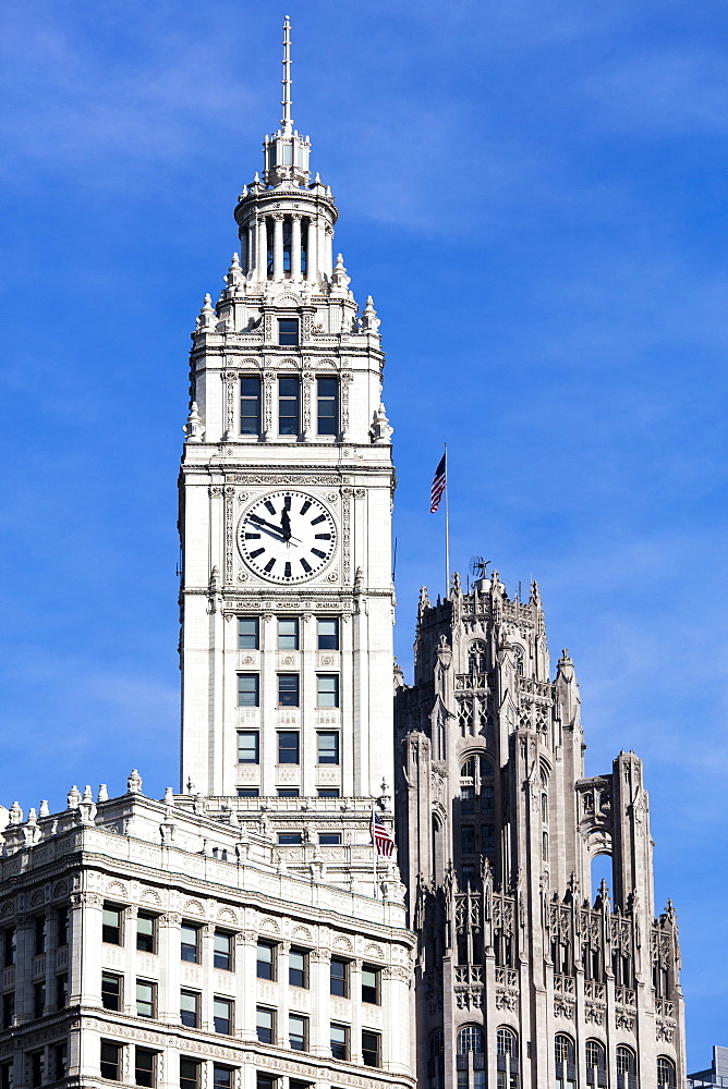 The Wrigley Building clock tower on a sunny day, Chicago, Illinois, United States of America, North America