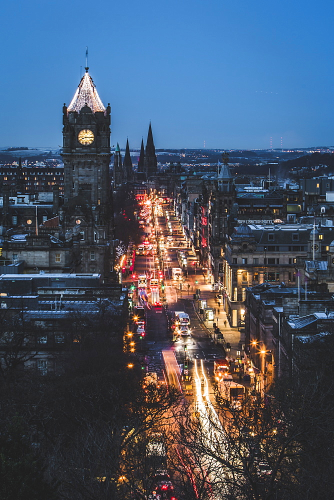 Princes Street at dusk, Edinburgh, Lothian, Scotland, United Kingdom, Europe - 1286-57