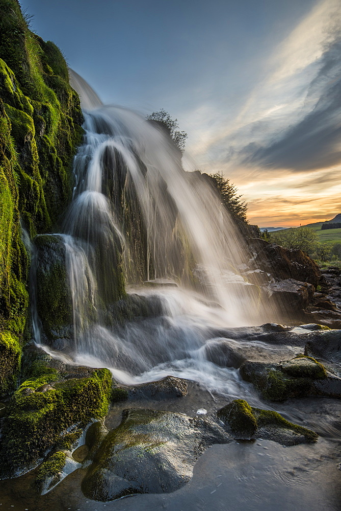 Sunset at the Loup o Fintry waterfall near the village of Fintry, Stirlingshire, Scotland, United Kingdom, Europe - 1287-29
