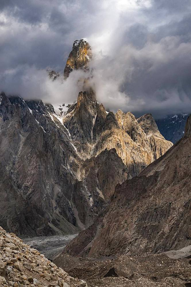 Uli Baiho Tower, 6109m, located near the Trango Towers and Baltoro Glacier in the Gilgit-Baltistan area of Pakistan, Asia