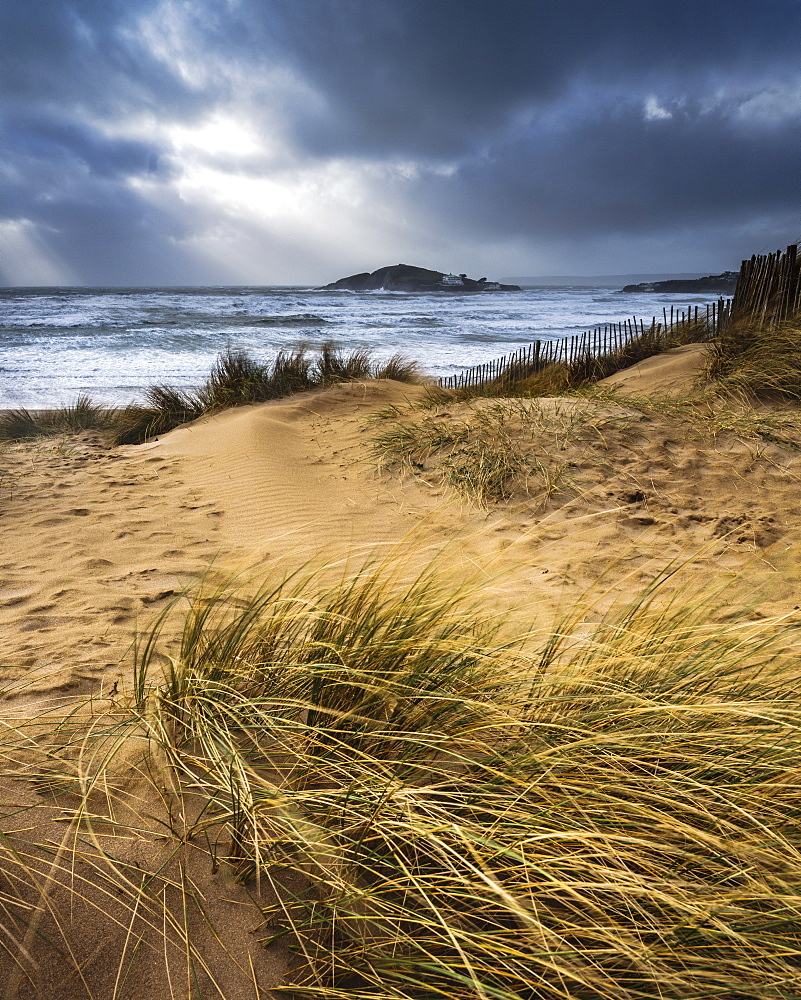 The beach at Bantham during a storm, near Kingsbridge, Devon, UK - 1295-190