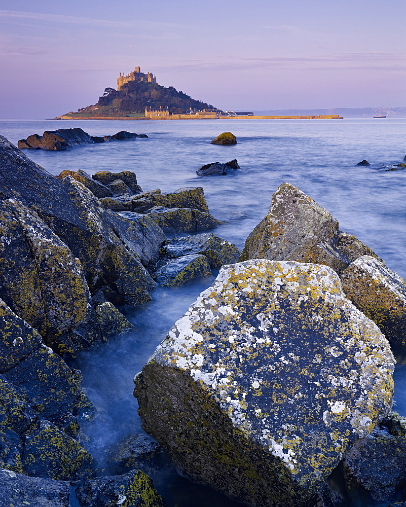 Spring dawn looking at St. Michael's Mount in Marazion, Cornwall, England, United Kingdom, Europe - 1295-251