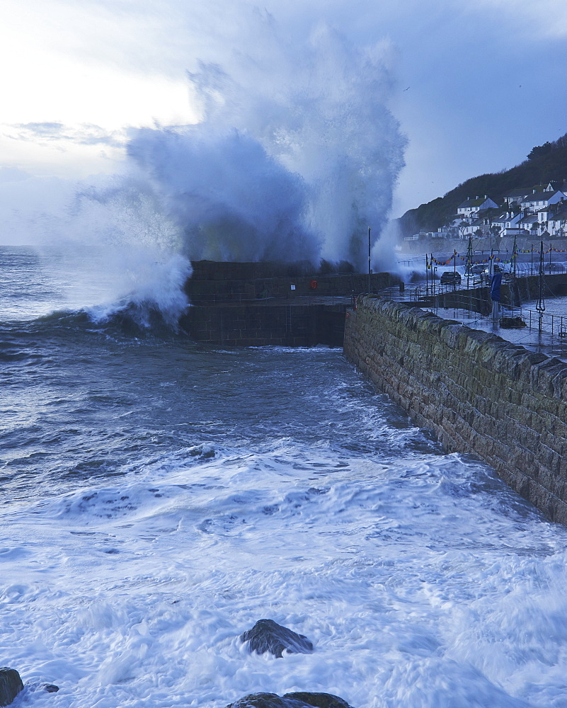 Winter storm at the fishing village of Mousehole, Cornwall, England, United Kingdom, Europe - 1295-292