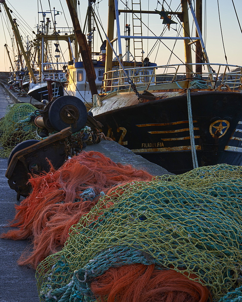 Trawlers alongside and nets, Newlyn, Cornwall, England, United Kingdom, Europe - 1295-296