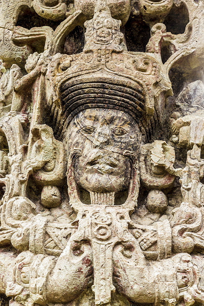 The face on Stelae B in Copan Ruins, UNESCO World Heritage Site, Copan, Honduras, Central America
