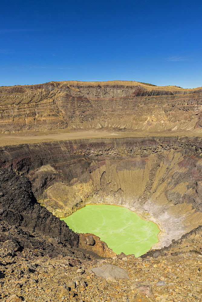 A view of the volcanic crater and colourful crater lake on Santa Ana Volcano in Santa Ana, El Salvador, Central America