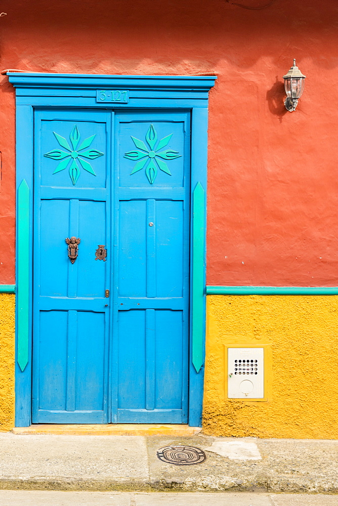 Colourful colonial architecture in Jerico, Antioquia Colombia, South America.