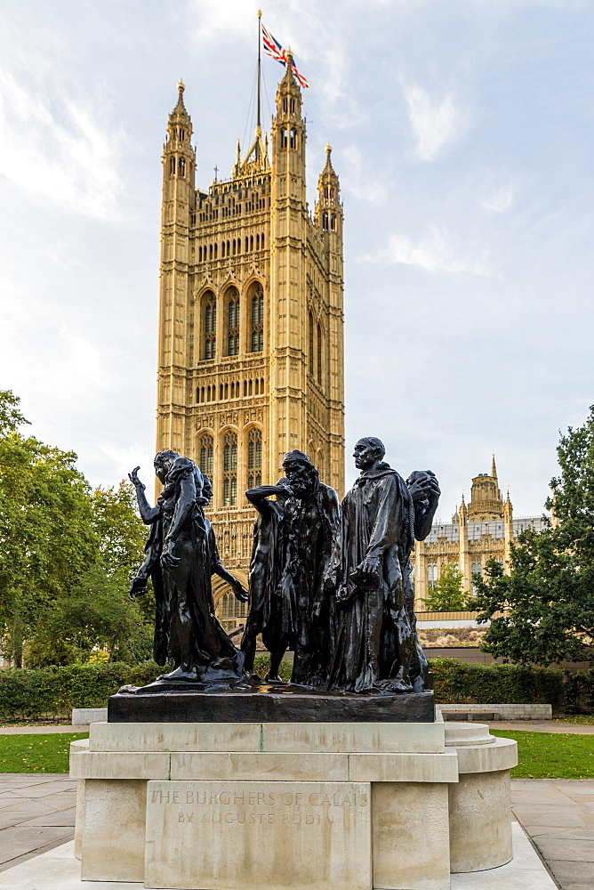The Burghers of Calais statue, by Auguste Rodin, in Westminster, London, England, United Kingdom, Europe