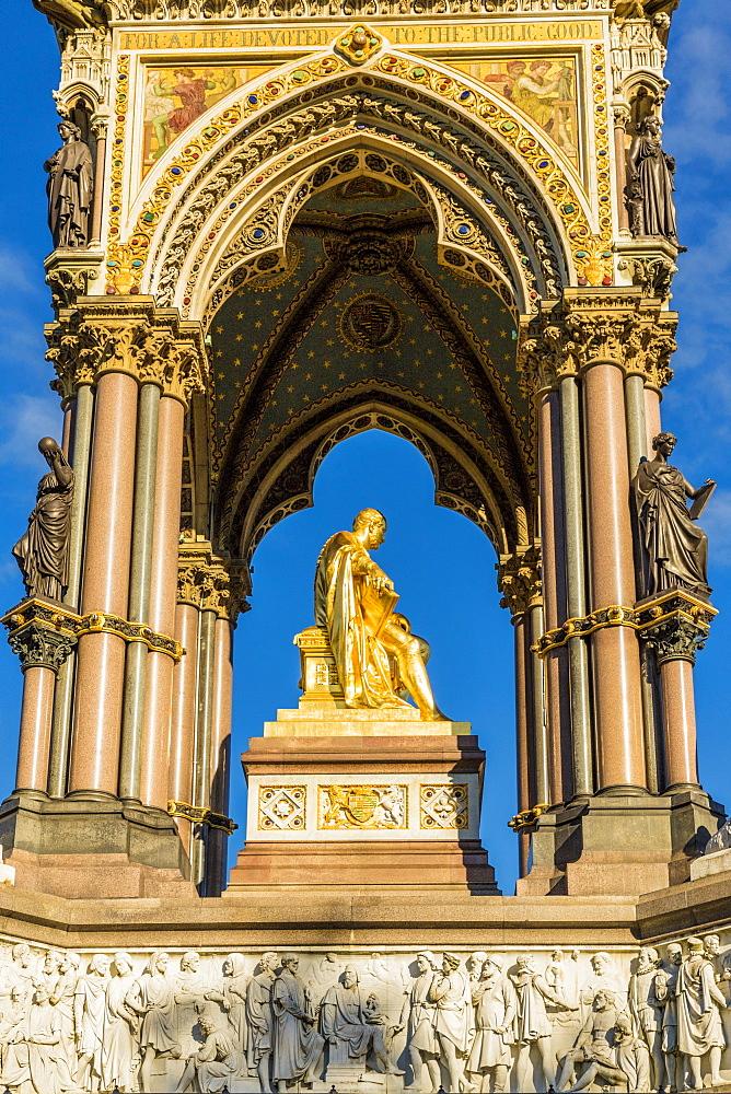 The Albert Memorial in Kensington Gardens in London, England, United Kingdom, Europe.