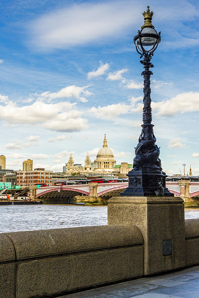 A view of the London skyline including St. Paul's Cathedral and the River Thames, London, England, United Kingdom, Europe