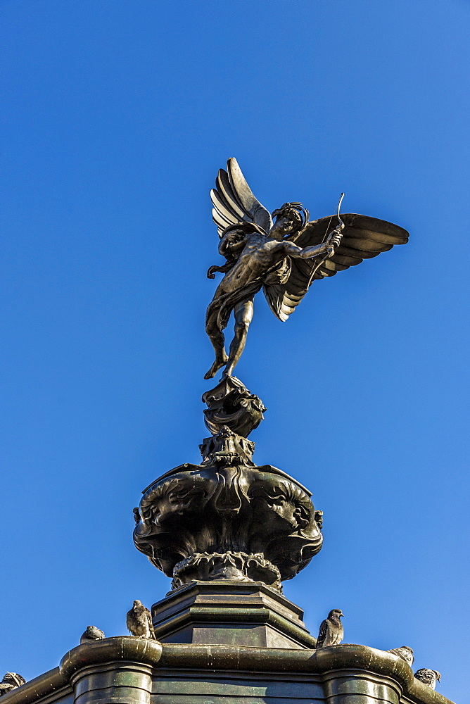 The winged statue of Anteros (Eros), Piccadilly Circus, London, England, United Kingdom, Europe