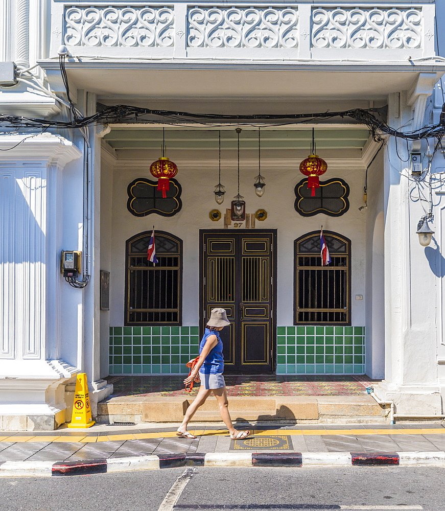 Beautiful Sino Portuguese architecture in Phuket Old Town, Phuket, Thailand, Southeast Asia, Asia